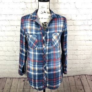 Cloth & Stone Plaid Flannel Long Sleeve Cotton Top